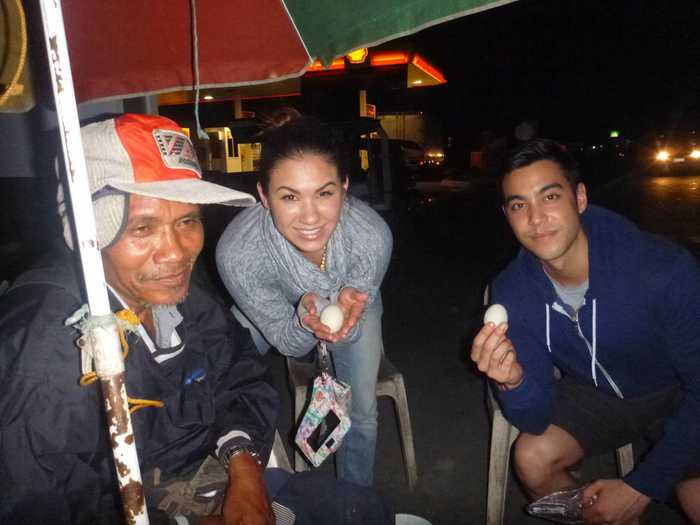 We bought the balut from a man on the corner.