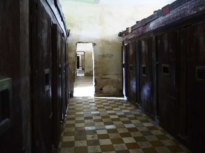 These makeshift prison cells were set up in what were once classrooms